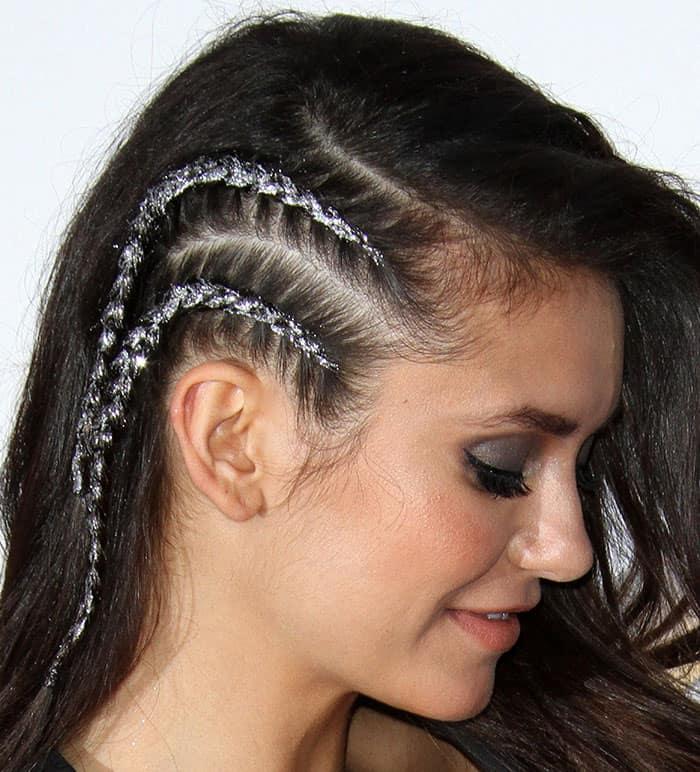 nina-dobrev-one-sided-glittered-double-braid