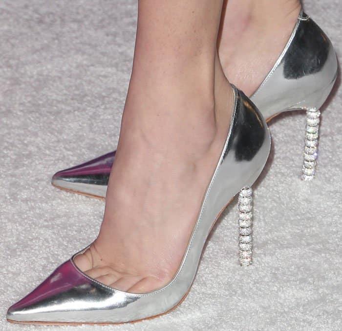 Peyton wears Sophia Webster's Coco Crystal pumps
