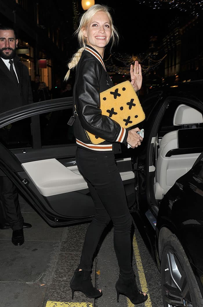 poppy-delevingne-coach-black-bomber-jacket-jeans-booties