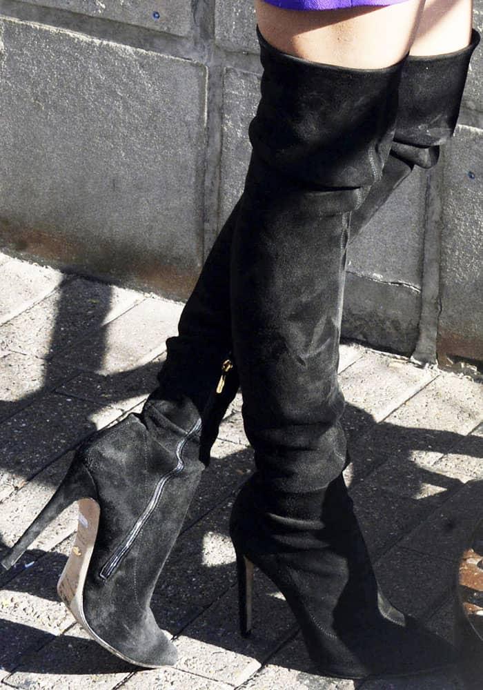 617b30b027 Priyanka Chopra in Black Thigh-High Jimmy Choo 'Toni' Boots