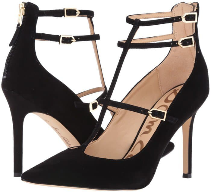 Slim straps create the elegant, cage-like profile of a stunning pointy-toe suede pump