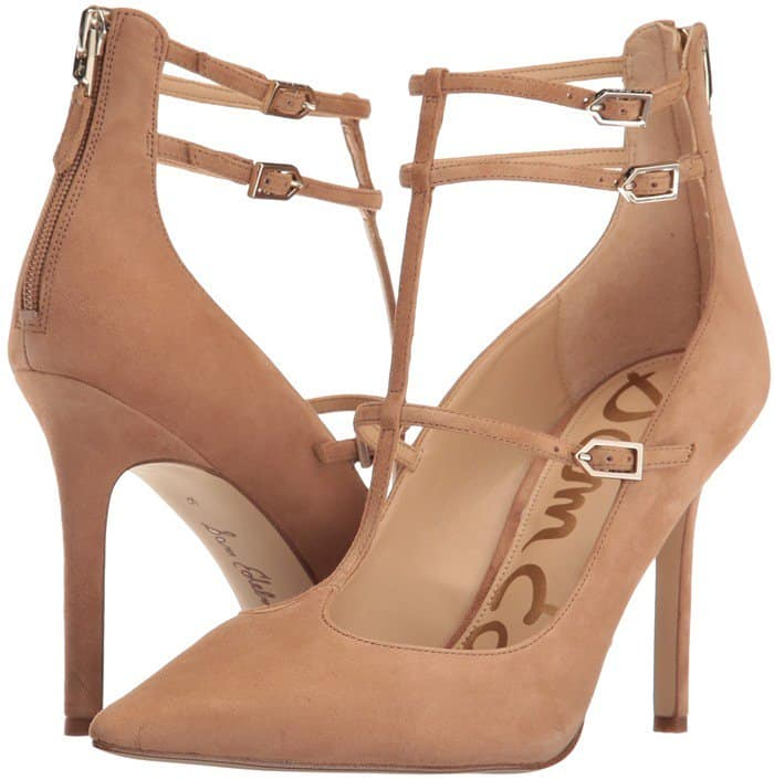 Pointed-toe Sam Edelman pumps styled with slim straps and polished buckle closures