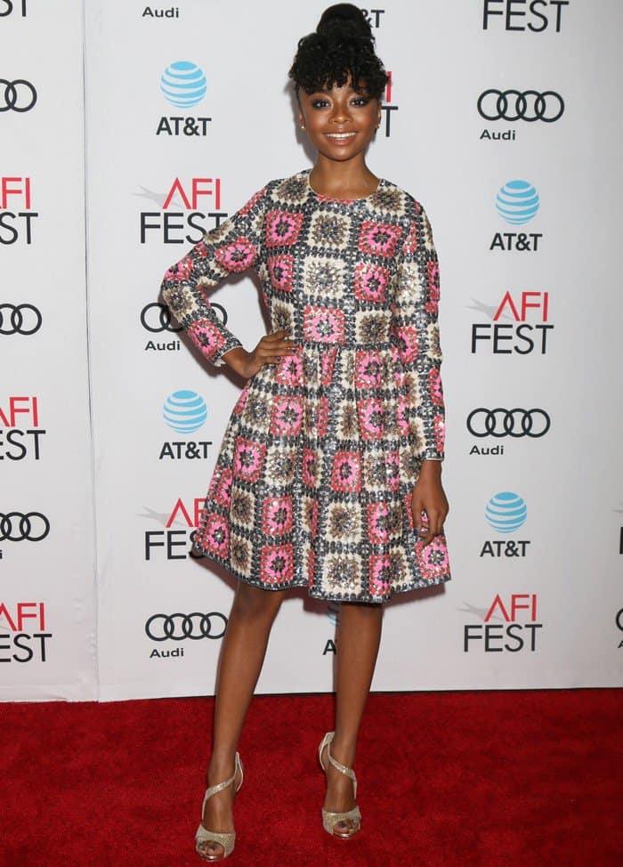 Skai Jackson donned a crochet sequin mini dress from Manoush