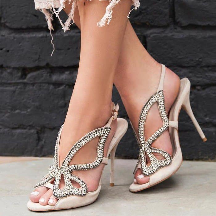 Chic nude suede sandal with crystal embellished Butterfly cut-out detail and finished with vinyl side panels