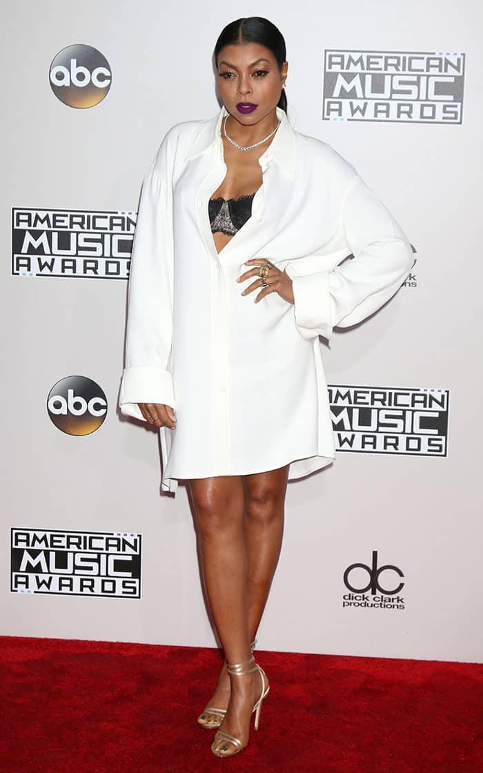 taraji-p-henson-cleavage-legs-oversized-white-shirt-dress