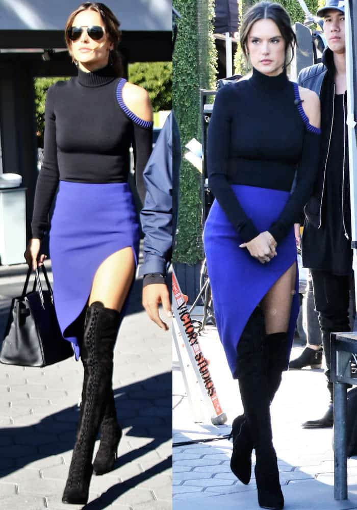 Alessandra sizzled in a two-piece David Koma ensemble