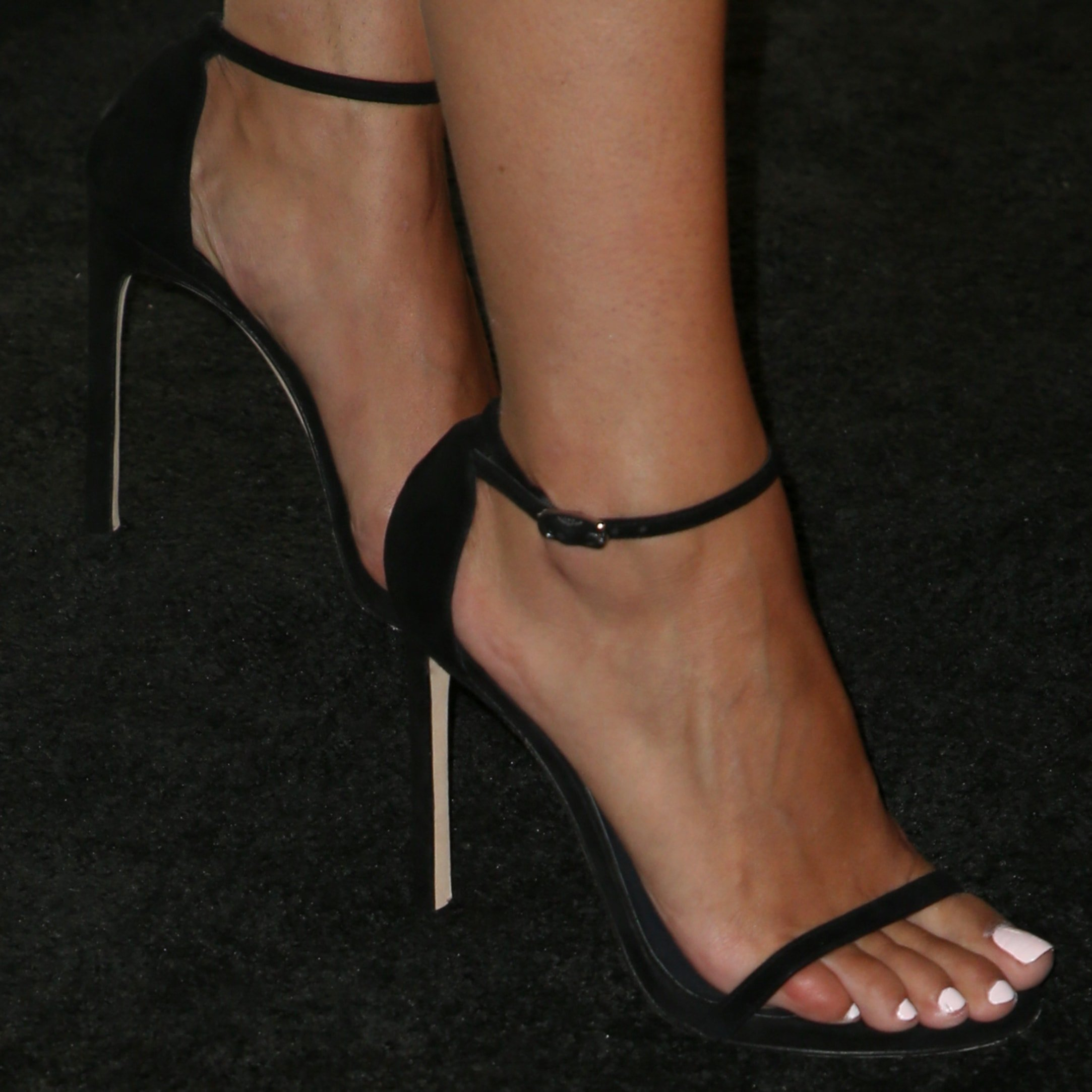 Aly Raisman's perfect feet in black ankle-strap sandals