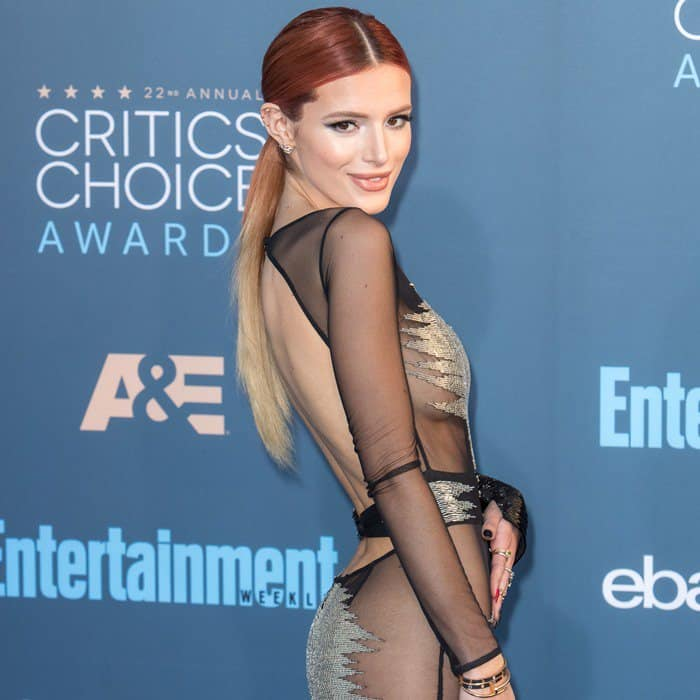 Bella Thorne wore no underwear in a sheer maxi dress from Australian designer Steven Khalil's 2017 couture collection