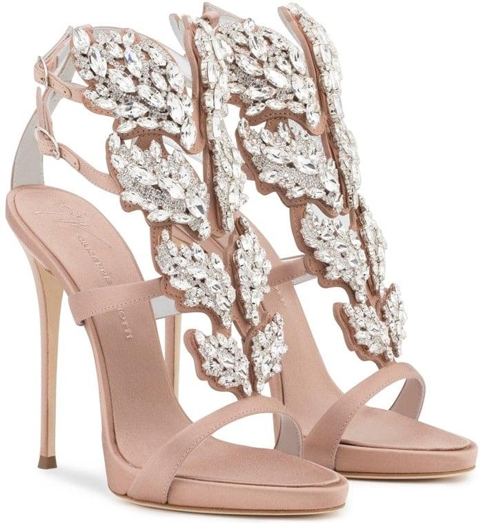Blush satin sandal with Cruel crystals accessory