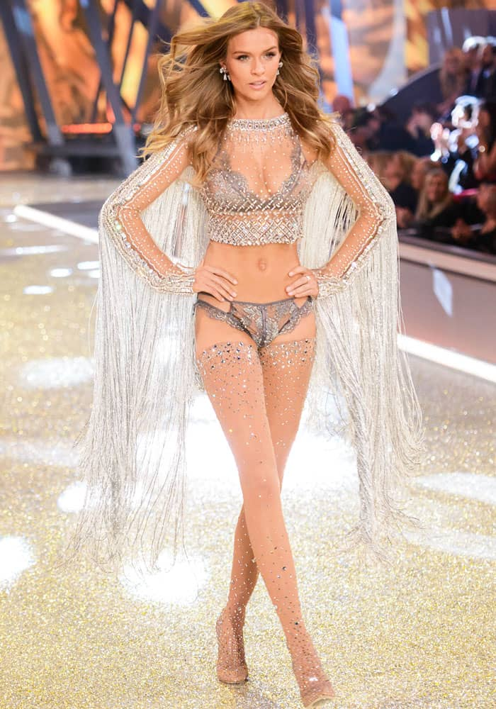 Josephine Skriver flaunts her legs in sheer over-the-knee jeweled boots