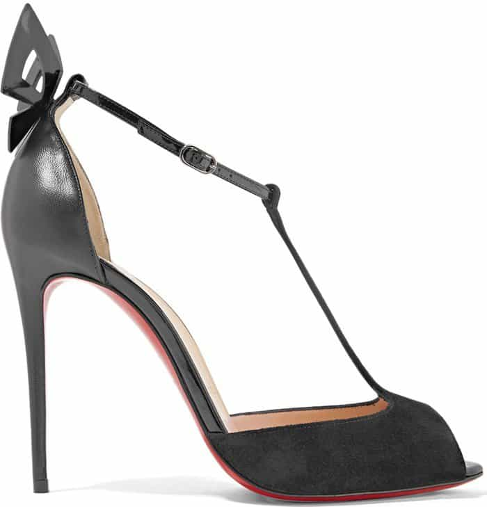 Christian Louboutin 'Aribak' 100 Bow-Embellished Leather and Suede T-Bar Sandals