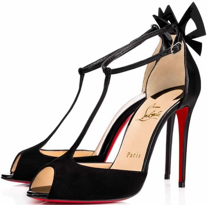 Christian Louboutin 'Aribak' Bow-Embellished T-Bar Sandals Black Suede