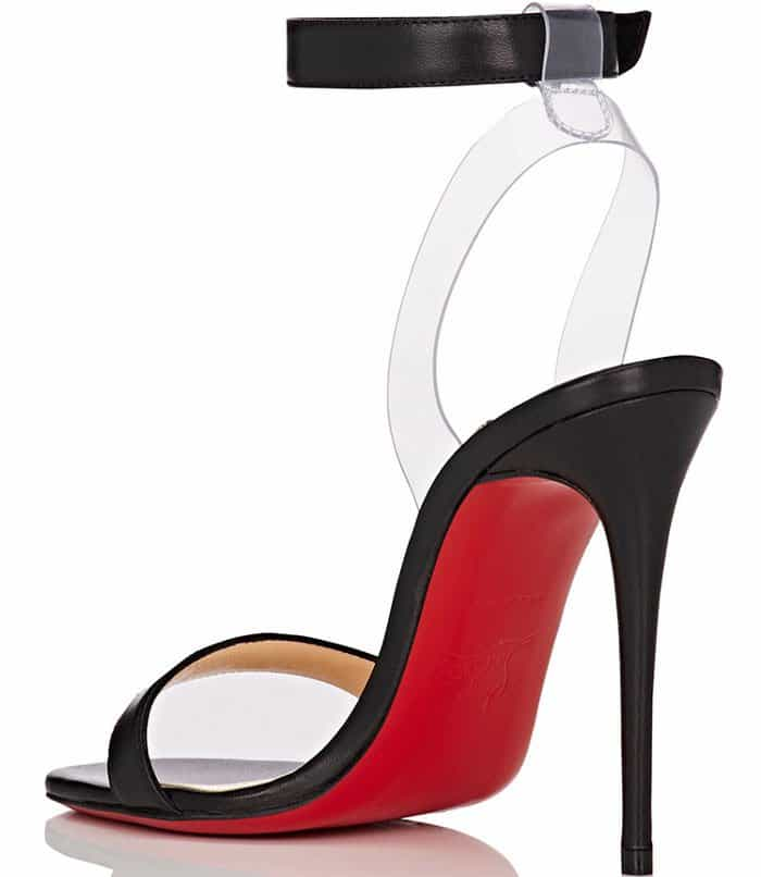 This style's transparent heel sling is designed to create the appearance of a floating ankle strap