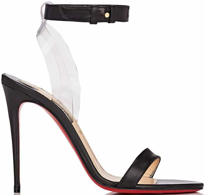 Styled with a leg-lengthening stiletto heel, they are constructed of black leather and clear PVC