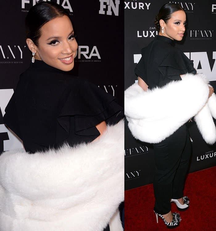 dascha-polanco-black-jumpsuit-white-fur-stole