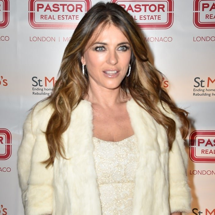 Elizabeth Hurley put in her share of holiday cheer by creating her own Winter Wonderland in the middle of London