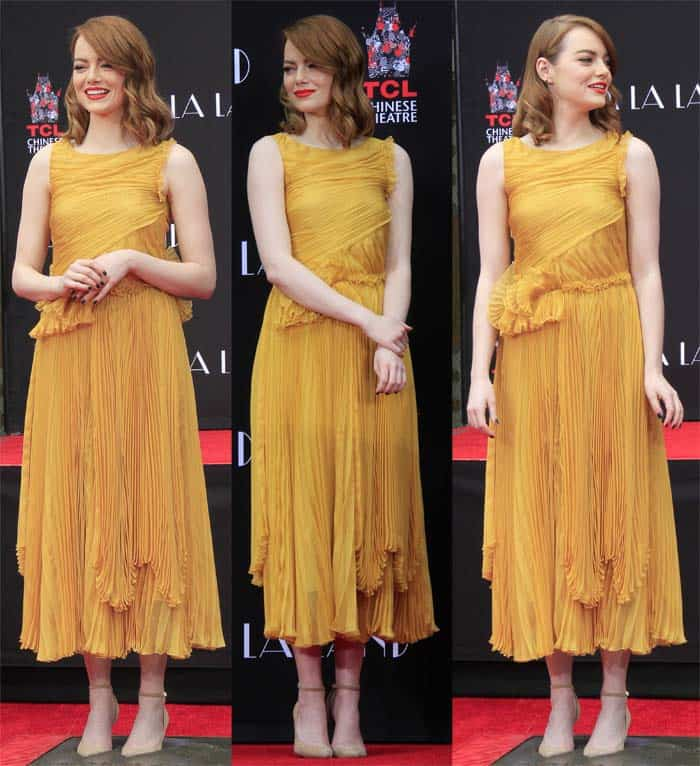 Emma Stone goes for a Rochas Spring 2017 dress for the occasion