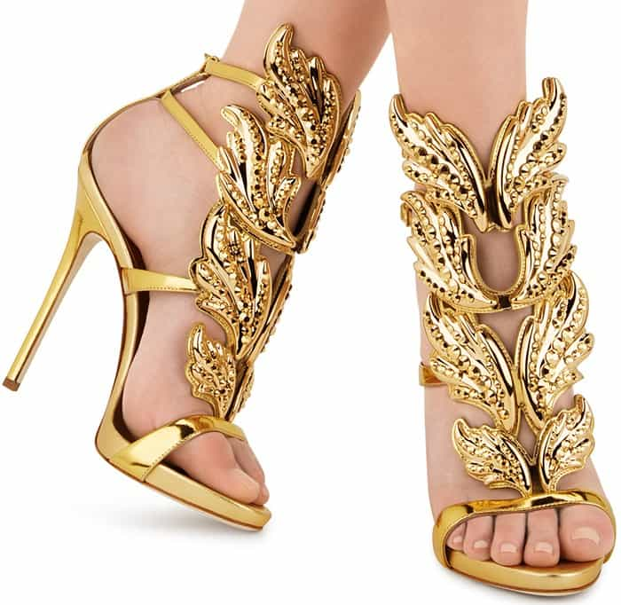Crystal-Embellished Giuseppe Zanotti 'Cruel' Mirrored Leather Sandals
