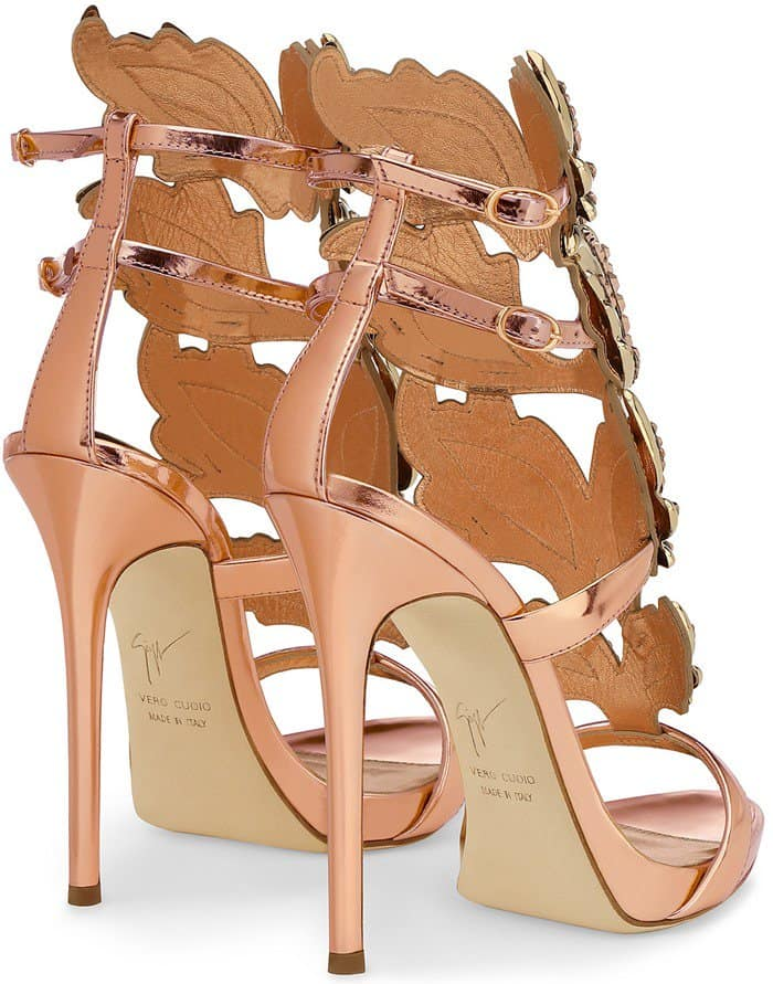 Crystal-Embellished Giuseppe Zanotti Cruel Mirrored Leather Sandals