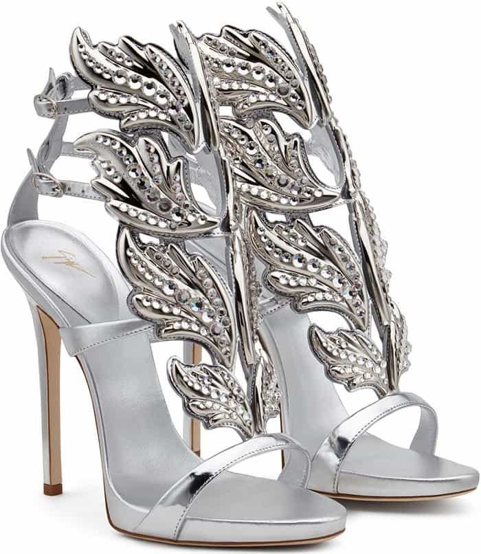 Crystal-Embellished Giuseppe Zanotti 'Cruel' Mirrored Leather Sandals