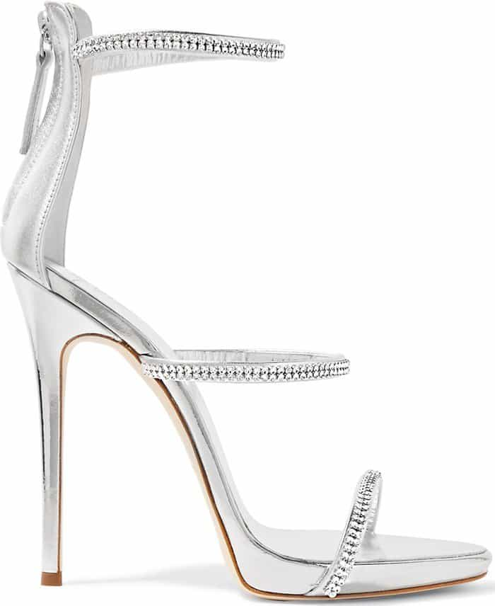 Silver-tone leather Harmony sandals from Giuseppe Zanotti Design featuring a strappy design, a rear zip fastening, a high stiletto heel, a brand embossed insole, a leather sole and an open toe