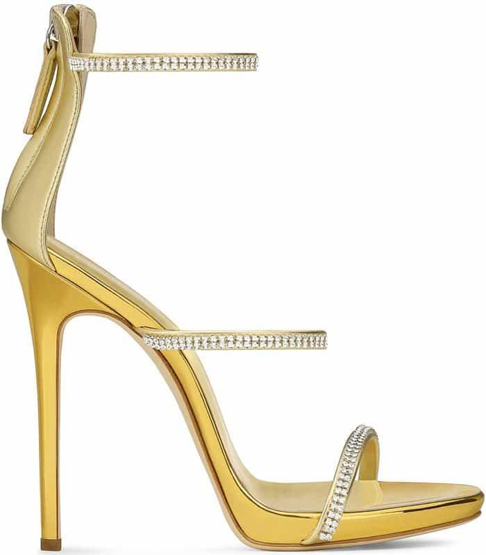 Giuseppe Zanotti 'Harmony Sparkle' Stiletto Sandals Gold