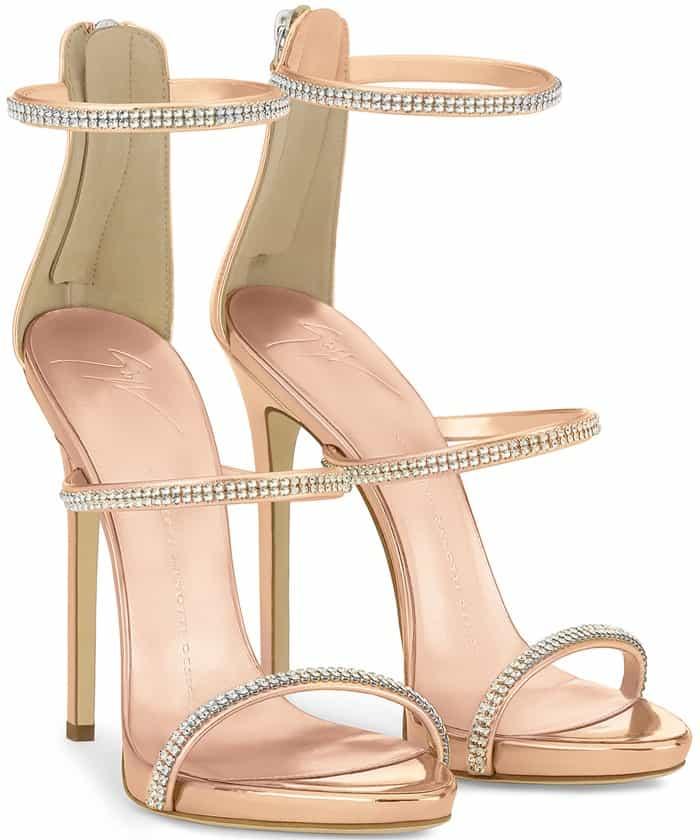 Giuseppe Zanotti 'Harmony Sparkle' Triple-Strap Sandals in Rose Gold