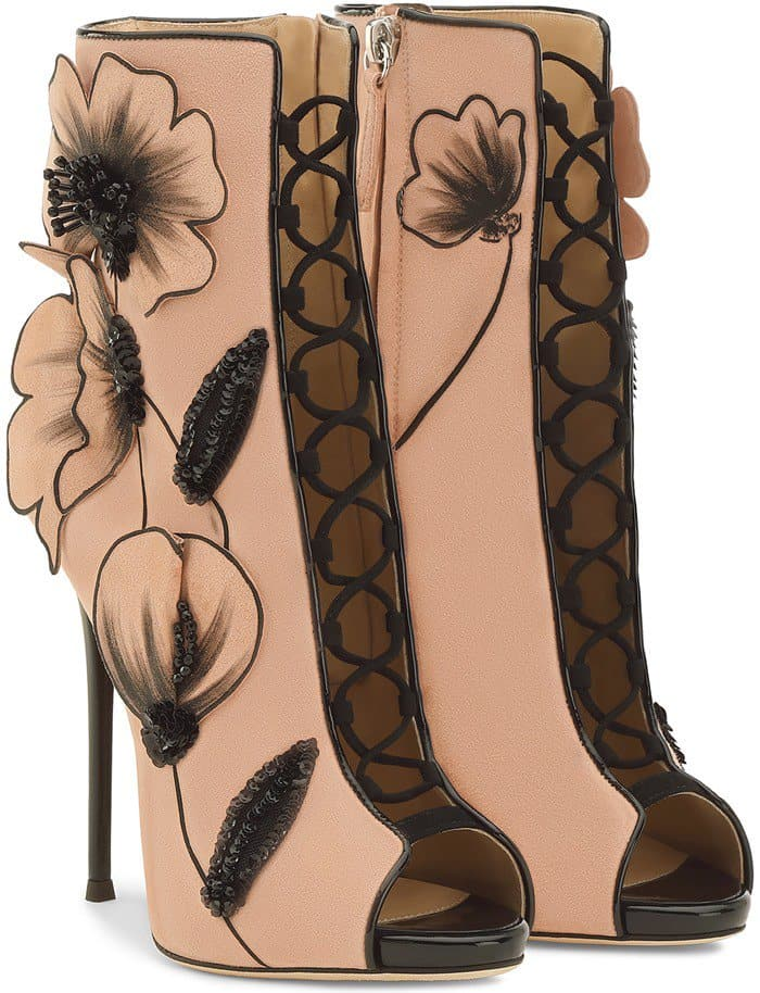 Botticelli-Inspired Pink Suede Giuseppe Zanotti 'June' Boots