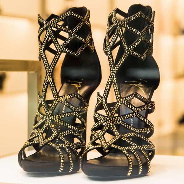 Giuseppe Zanotti Gold-Tone Leather 'Raquel' Caged Sandals