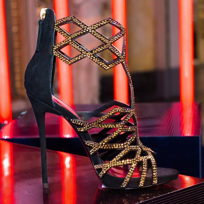 Giuseppe Zanotti Gold-Tone Leather 'Raquel' Caged Sandals