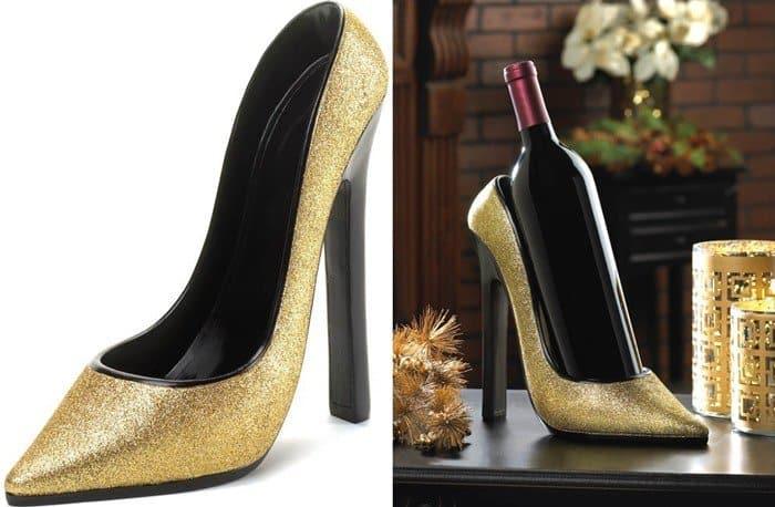 Glittery Sparkling High Heel Shoe Wine Holder Storage