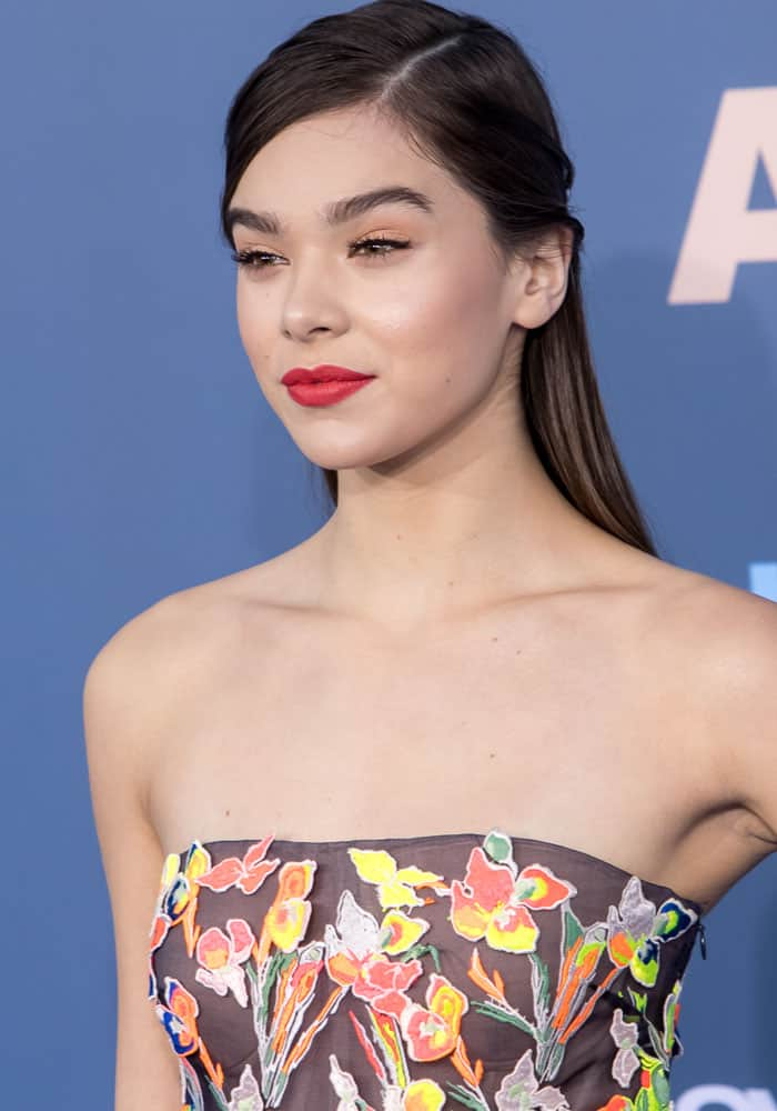 Hailee Steinfeld in a floral high-low dress from Jason Wu