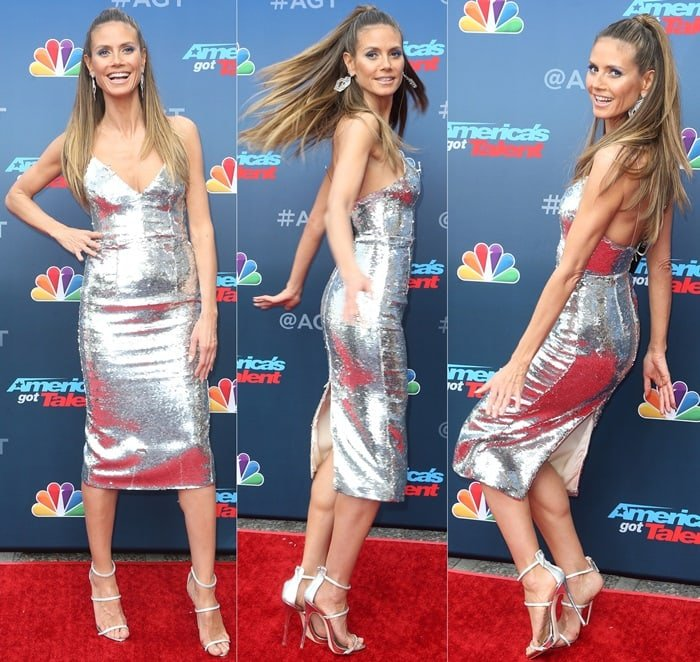Heidi Klum's metallic silver-tone 'Leighton' dress from Alex Perry