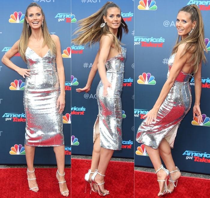 Heidi Klum'smetallic silver-tone 'Leighton' dress from Alex Perry