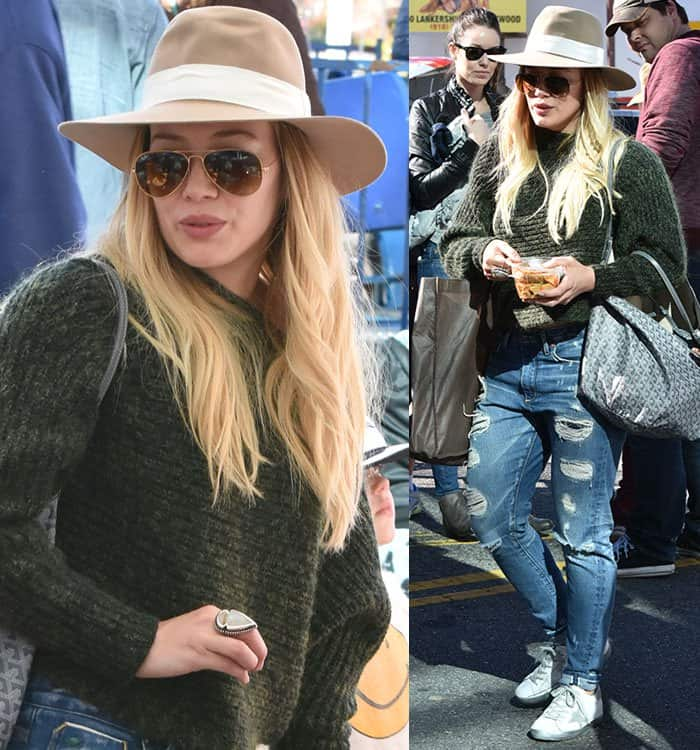hilary-duff-green-knit-sweater-ripped-jeans