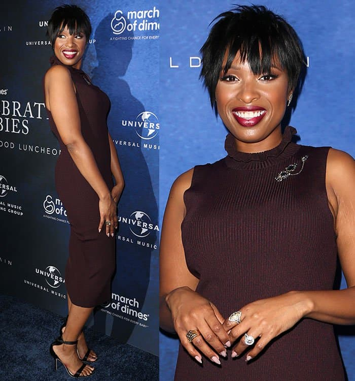 Jennifer Hudson styled her look with a pair of earrings and a couple of statement rings