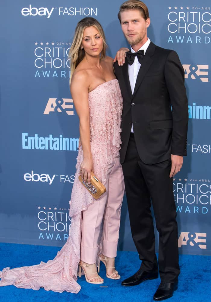 Kaley poses with her boyfriend Karl Cook