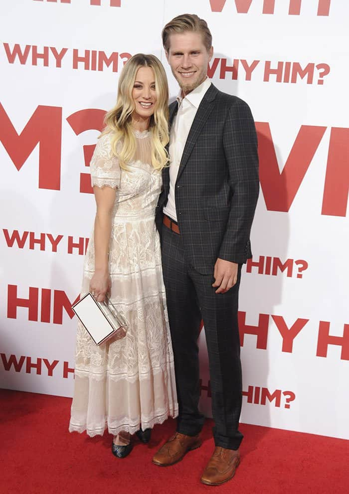 """Kaley Cuoco and Karl Cook at the premiere of """"Why Him?"""" in Los Angeles"""