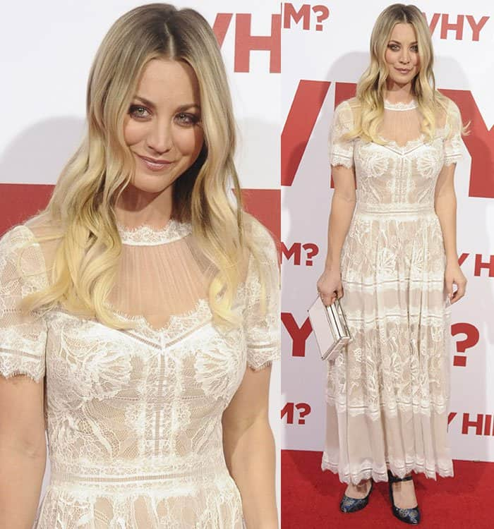 Kaley Cuoco in a floral lace crinkled chiffon dress from Tadashi Shoji's Spring 2017 collection