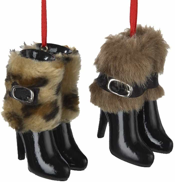 Kurt Adler 3-Inch Resin Boots with Fur