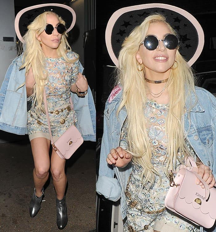 lady-gaga-embroidered-shortsuit-denim-jacket-hat