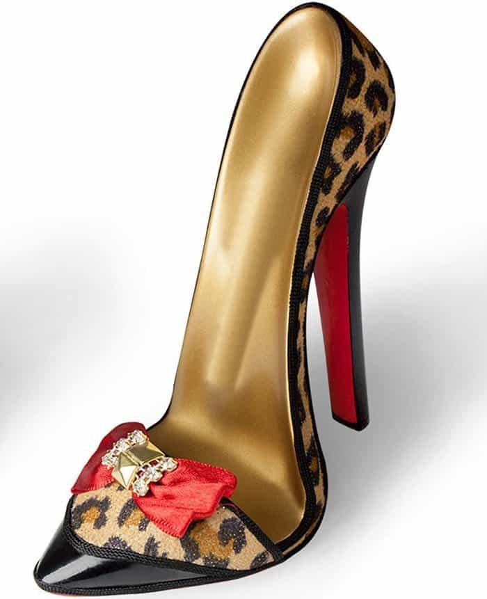 Stiletto Cell Phone Holder - Red Bow Leopard
