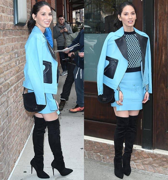 olivia-munn-versace-blue-black-blazer-dress