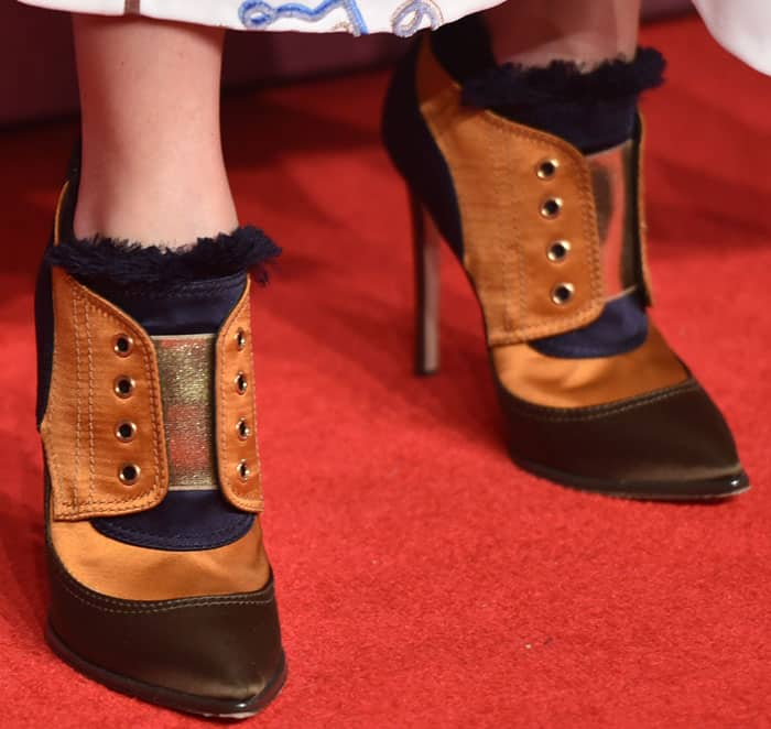 """Olivia Palermo pulled off the Jimmy Choo """"Mitsu"""" booties as a red carpet look"""