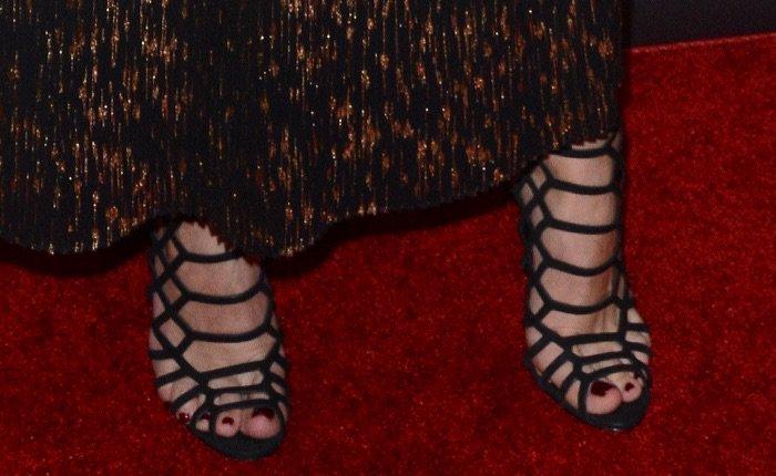"""Olivia Palermo in Schutz """"Juliana"""" cage sandals"""