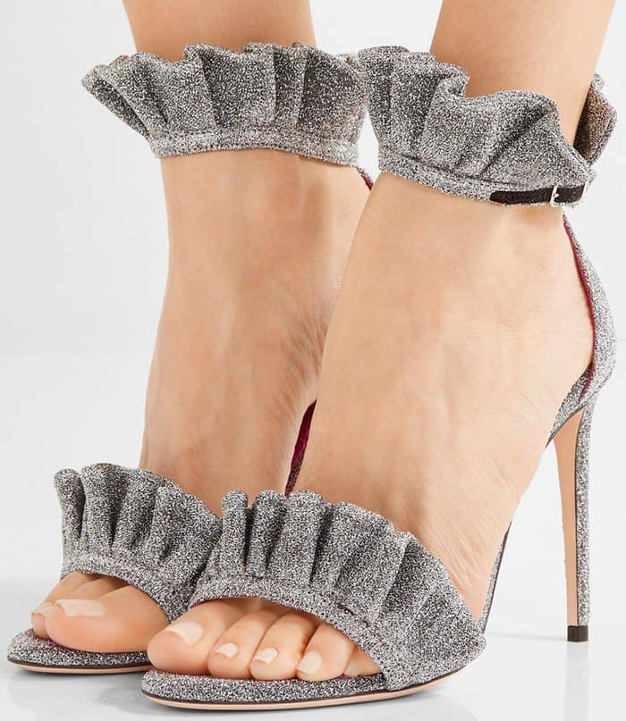 oscar-tiye-antoinette-ruffle-trimmed-textured-lame-sandal