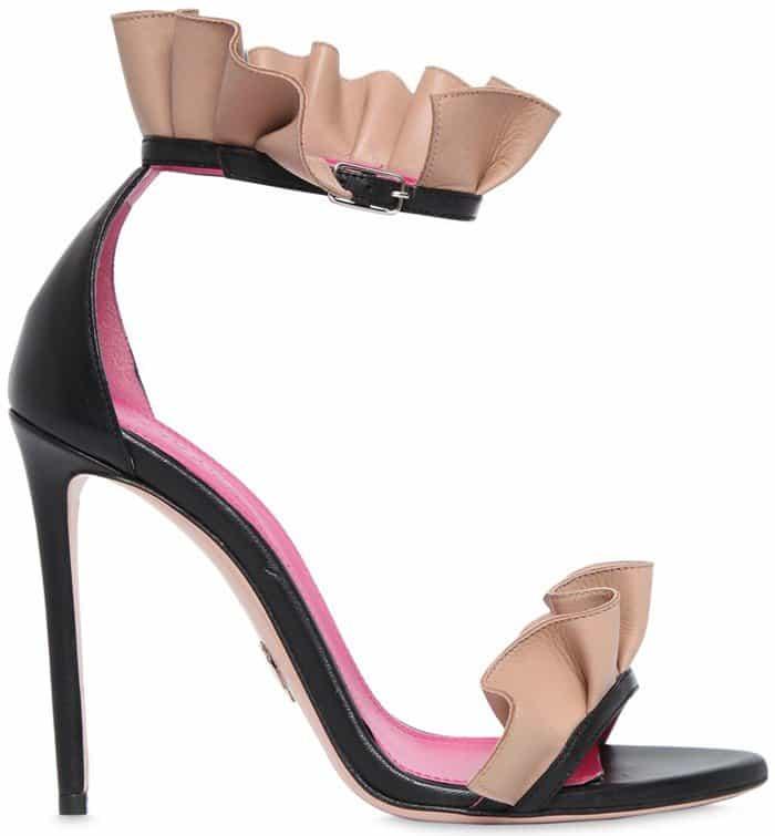 oscar-tiye-black-110mm-antoinette-ruffle-leather-sandals