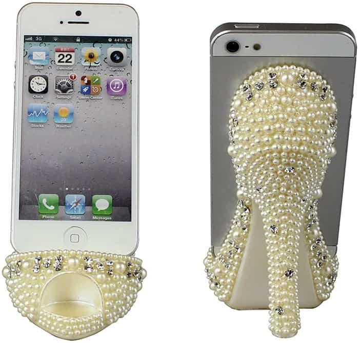 Pearl Crystal Shoe Cell Phone Holder