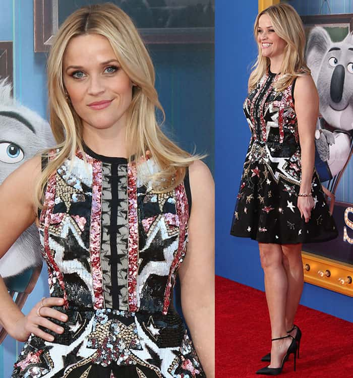 "Reese Witherspoon at the premiere of ""Sing"" held at the Microsoft Theater"