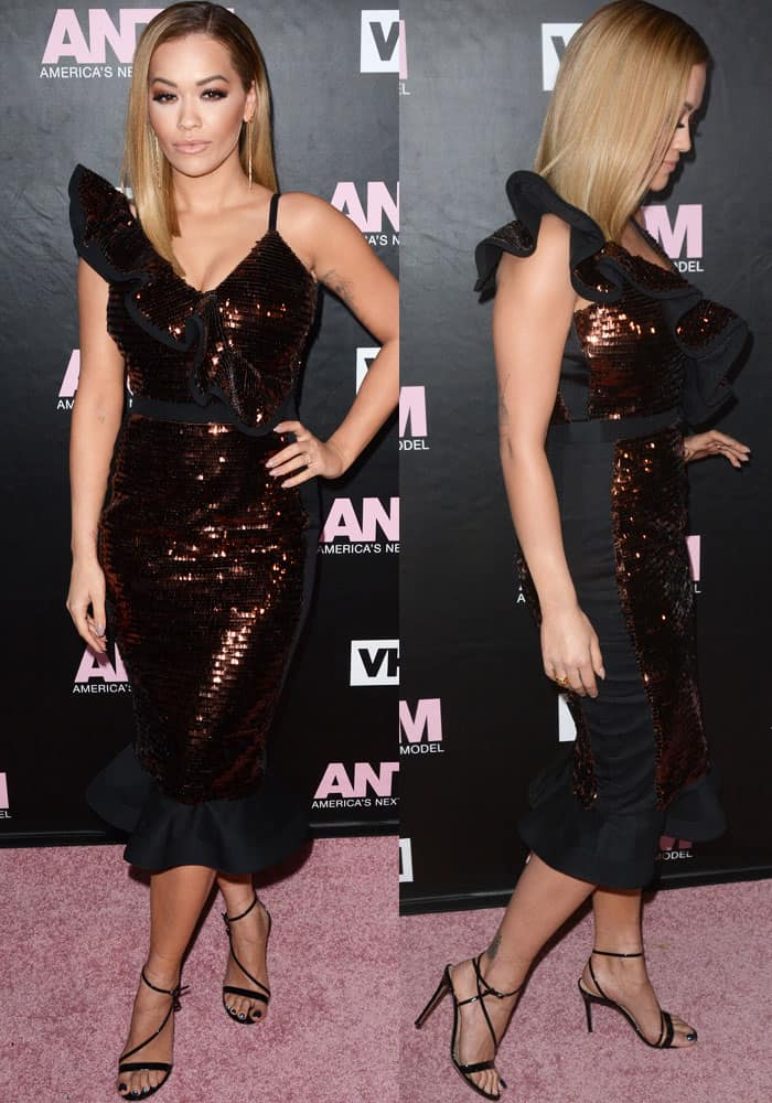 Rita Ora wearing a 'San Jacinto' sequined dress by Johanna Ortiz